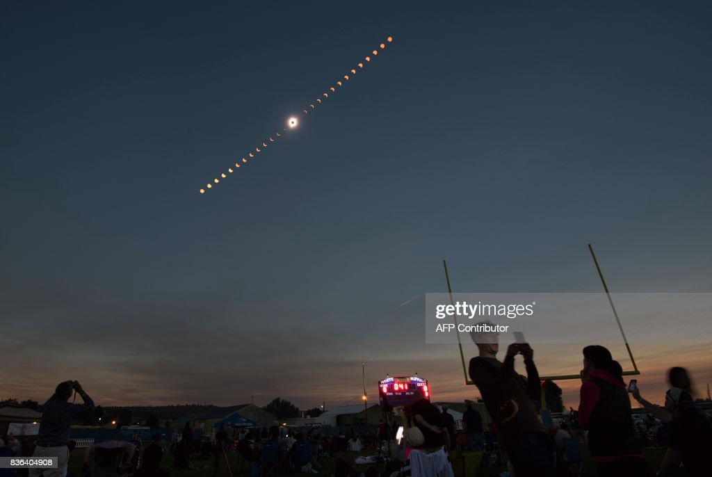 A composite image of the total solar eclipse seen from the Lowell Observatory Solar Eclipse Experience August 21, 2017 in Madras, Oregon. /