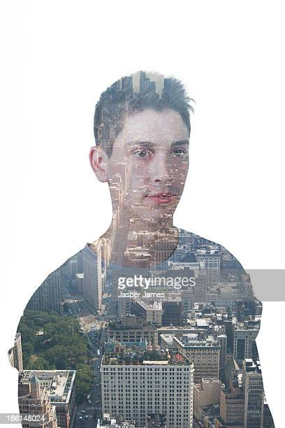 composite image of young man and cityscape