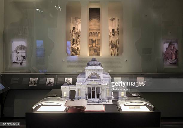 A Composite of a Synagogue on the Core Exhibition of Polin on October 10 2014 at Polin Museum of History in Warsaw Poland The museum looks at the...