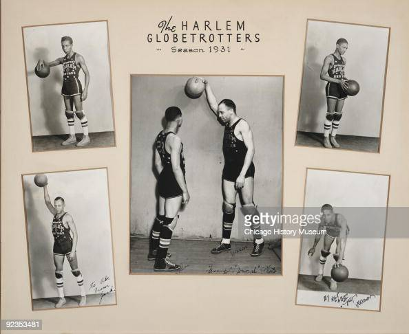 Composite of five photographs of some members of the Harlem Globetrotters basketball team 1931