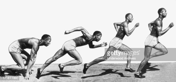 A composite of images of track star Jesse Owens showing sprinting positions from start to full stride June 18 1935