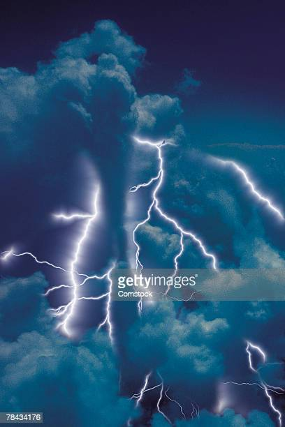 Composite of lightning bolts and clouds