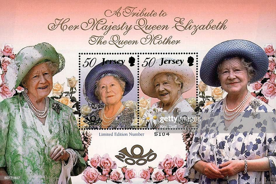 Composite of portraits of Britain's Queen Mother Elizabeth including cover of the the Jersey Postal Service stamp issue commemorating her 100th birthday.