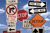 Composite of various road signs