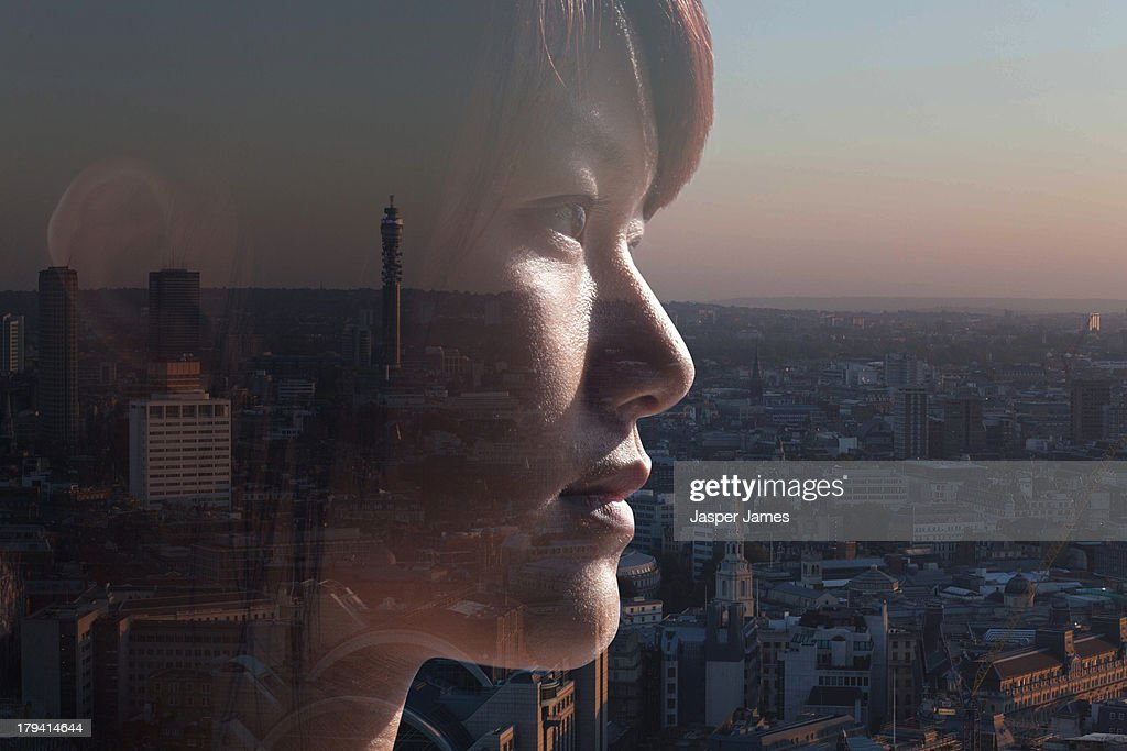 composite of woman and London cityscape : Stock Photo