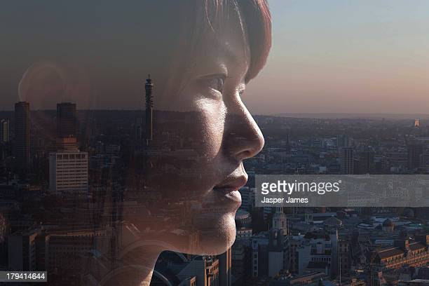 composite of woman and London cityscape