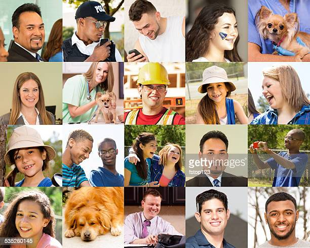 Composite people collage. Multi-ethnic group, mixed ages. Various jobs. Dogs.