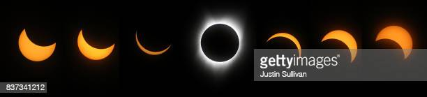A composite photo of the stages of a solar eclipse as viewed from South Mike Sedar Park on August 21 2017 in Casper Wyoming Millions of people have...