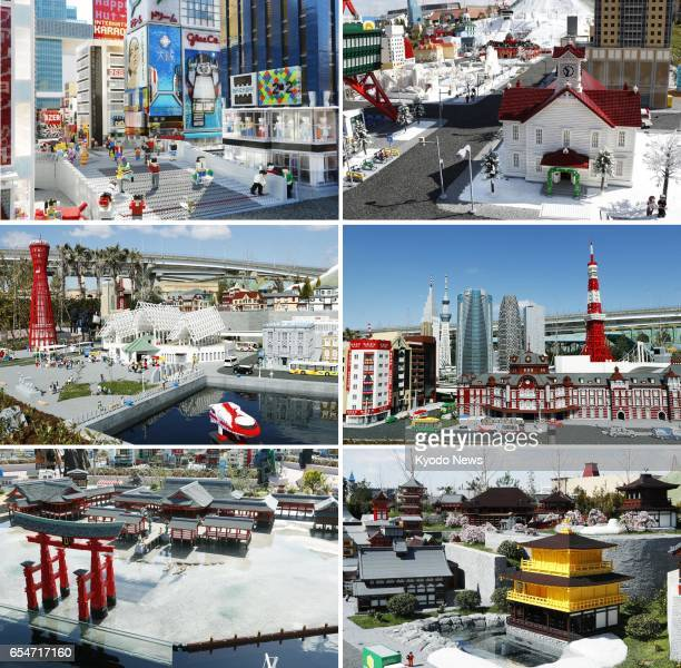 Composite photo shows replicas of famous landmarks of Japan made with Lego bricks on display at Legoland Japan in the central Japan city of Nagoya on...