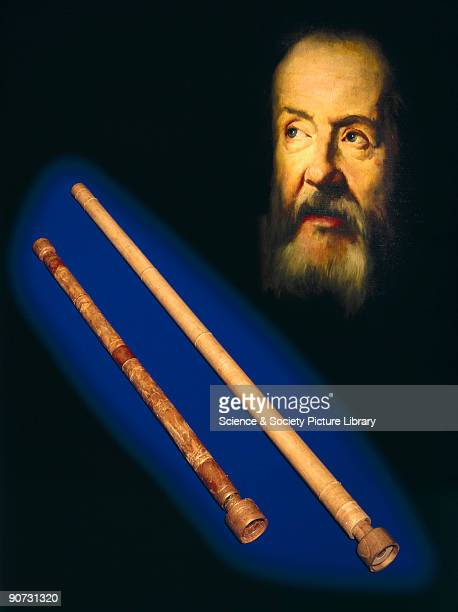 A composite photograph showing two replica telescopes with a vignette of the head of Galileo from a portrait painted in 1635 by Guido Sustermans...