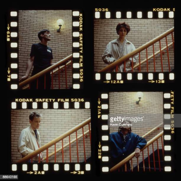A composite portrait of the four members of English rock group New Order at Macclesfield Leisure Centre Cheshire 19th April 1985 Clockwise from top...
