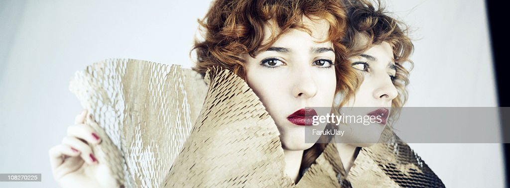 Composite Portrait of Young Woman : Stock Photo