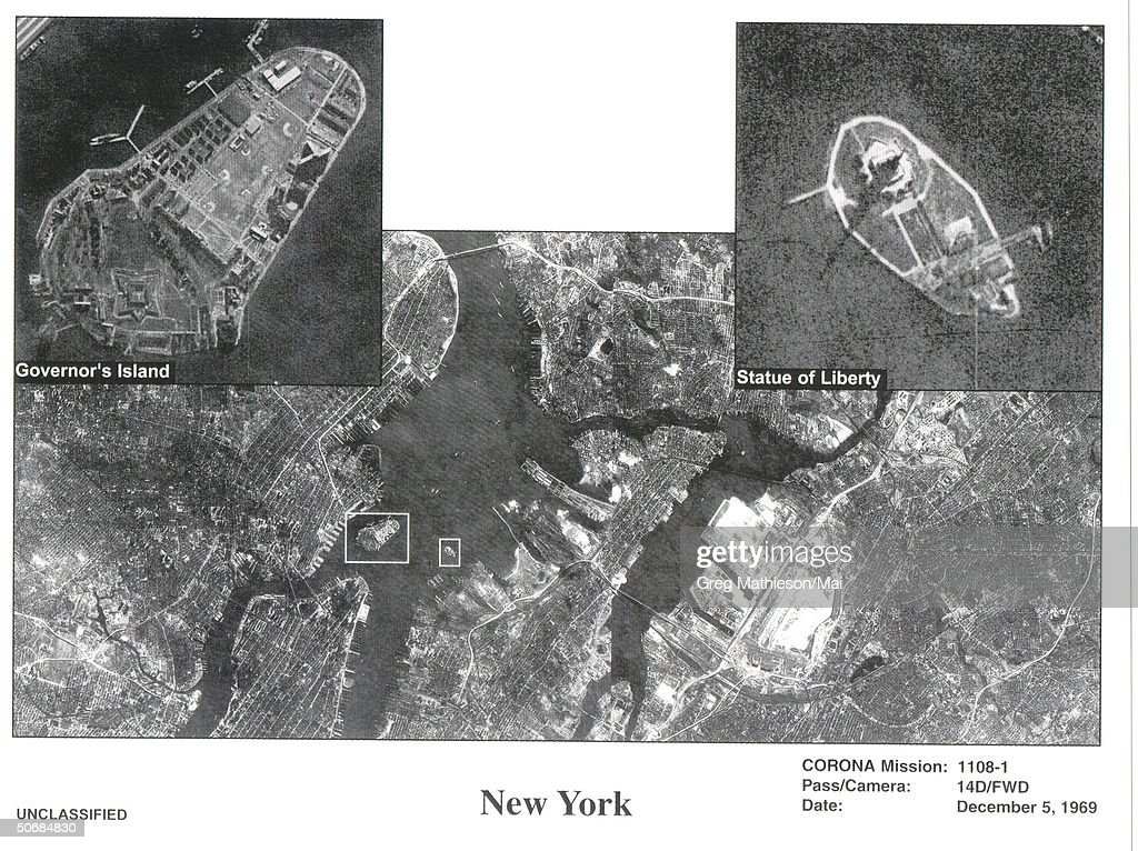 Composite satellite photo of New York City taken from one of the first US spy satelites named CORONA, which was in operation from 1960-1972.