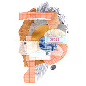 Composition in the modern style of the glued paper. Trendy collage illustration. Raster textured background.