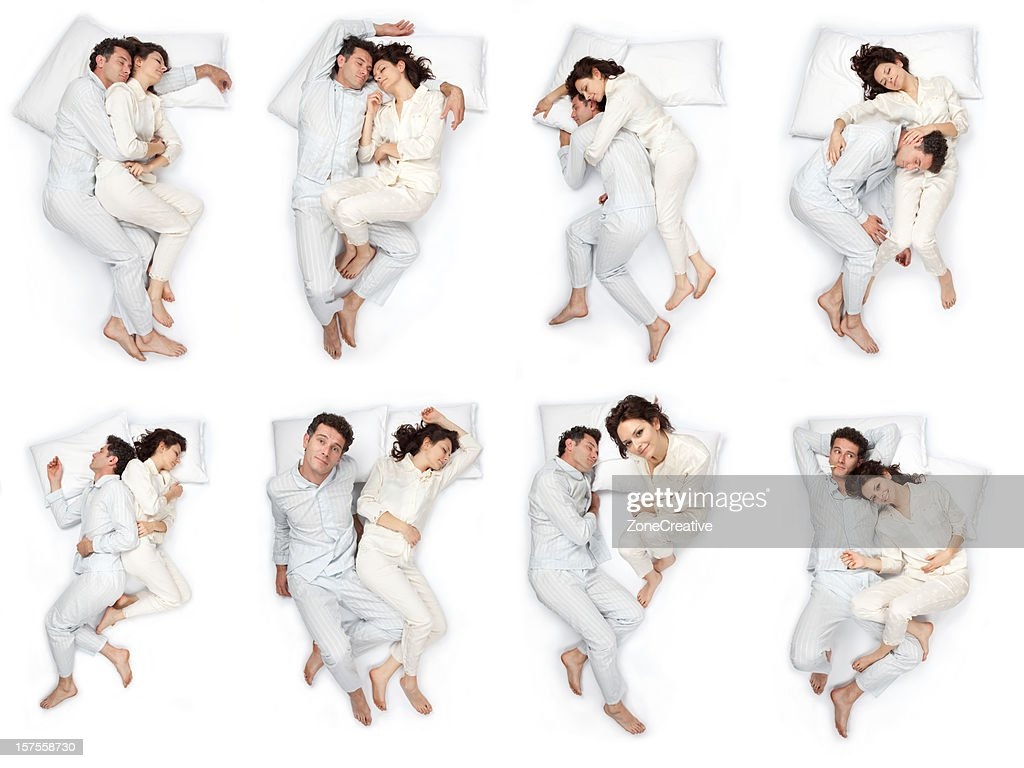 composition of sleep pose beautiful love couple  with pajamas isolated