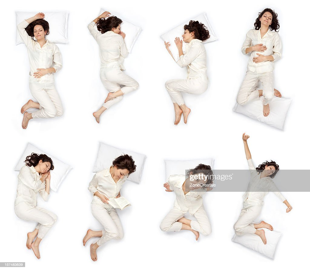 composition of sleep pose beautiful young girl with pajamas isol