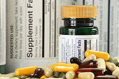 Composition with variety of dietary supplements capsules and containers