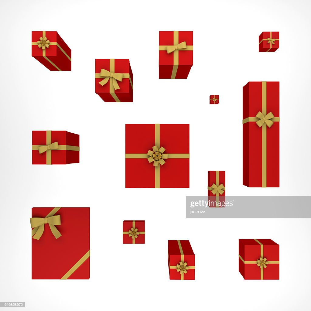 Composition with gift boxes. top view 3d rendering : Stock Photo