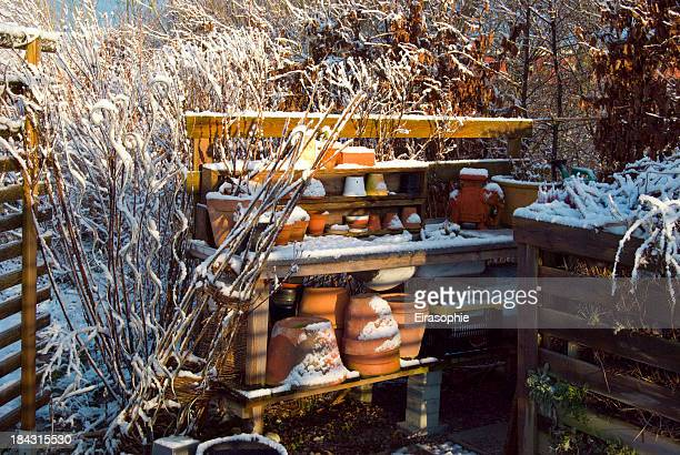Compost and a garden work bench during winter time