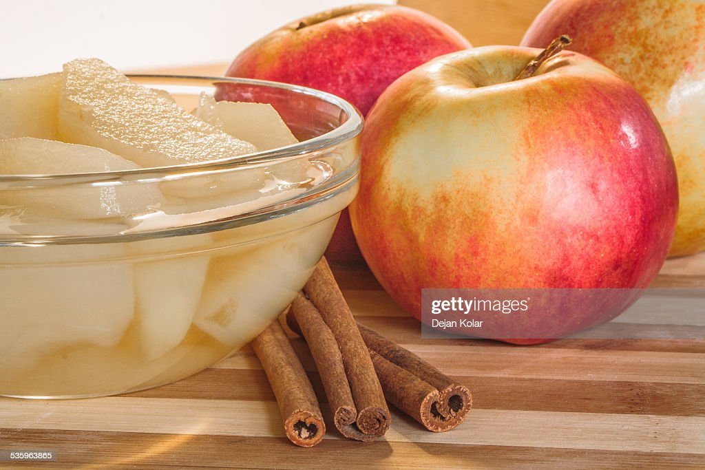 Compote, Apples and Cinnamon sticks : Stock Photo