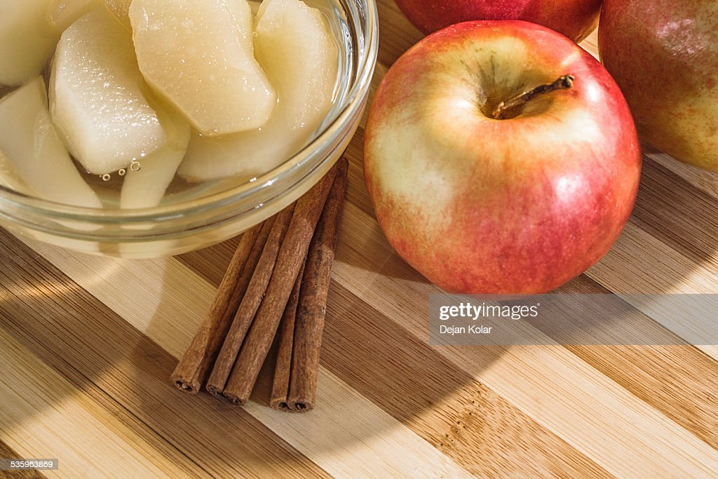 Compote, Apples and Cinnamon sticks : Stock Photo