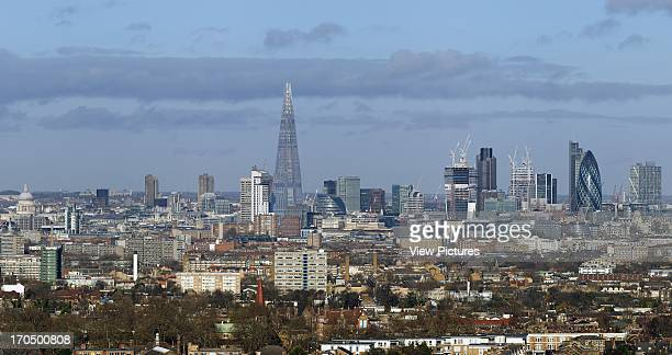 Comprehensive panoramic view from south east of city skyline The SHARD London United Kingdom Architect Renzo Piano Building Workshop 2012