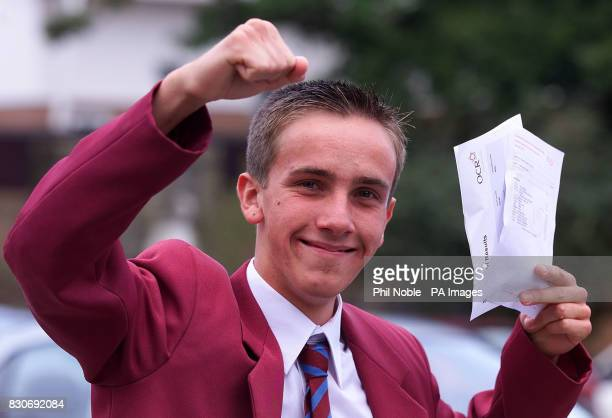 Comprehensive schoolboy Jonathan Murphy celebrating after scooping 13 A stars and one A grade in his GCSEs Jonathan who attends Liverpool's Saint...