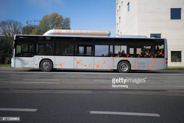 SE compressed natural gas fueled bus sits parked on a street during the Volkswagen AG CNG Mobility Day in Essen Germany on Tuesday Nov 7 2017 Car...