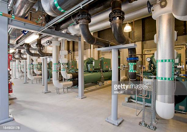Compressors, pumps and pipes for cooling system.
