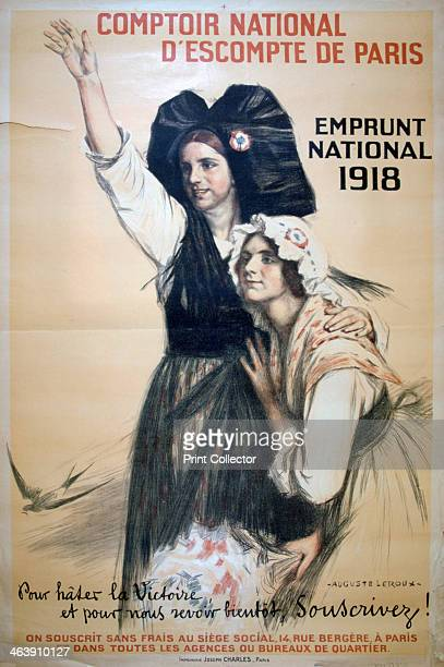 'Comptoir National d'Escompte de Paris' French World War I poster 1918 Two French women in the costume of Revolutionera France gaze into the distance...