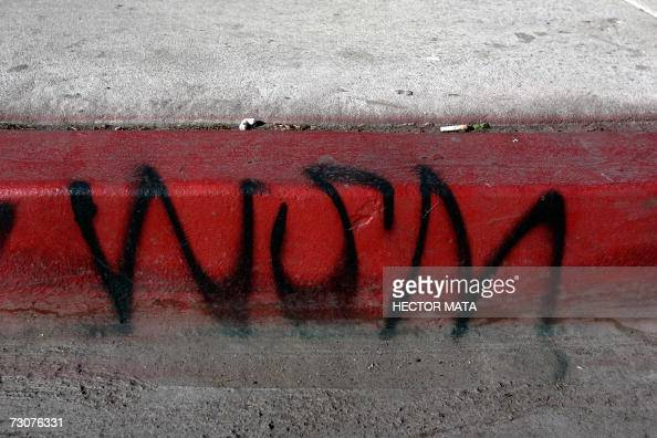 A territorial gangrelated grafitti sign is seen on the streets of Compton CA 22 January 2007 where Los Angeles Sheriff Lee Baca announced the results...