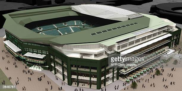 A computer aided drawing illustrates how centre court would look with a new retractable roof at The All England Lawn and Tennis Club in Wimbledon 06...