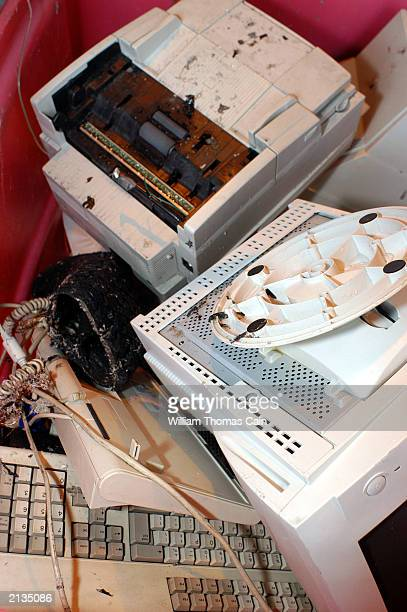 Computer and fax machine parts lay in a bin waiting to be grinded into fuel at Changing World Technologies Philadelphia Plant July 3 2003 in...