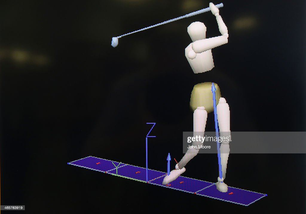 A computer animation of a U.S. military veteran and arm amputee is shown swinging a golf club at the Gait and Motion Analysis Lab at the Veterans Administration (VA), hospital on January 29, 2014 in Manhattan, New York City. At the laboratory patients are fitted with reflectors which are filmed by multiple cameras and later analyzed to help them improve mobility after losing limbs and help doctors there study the biomechanics of motion.