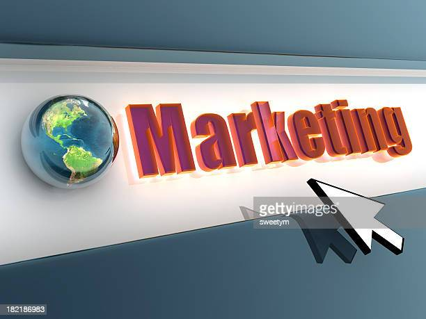 A computer arrow curser pointing to Marketing with the earth