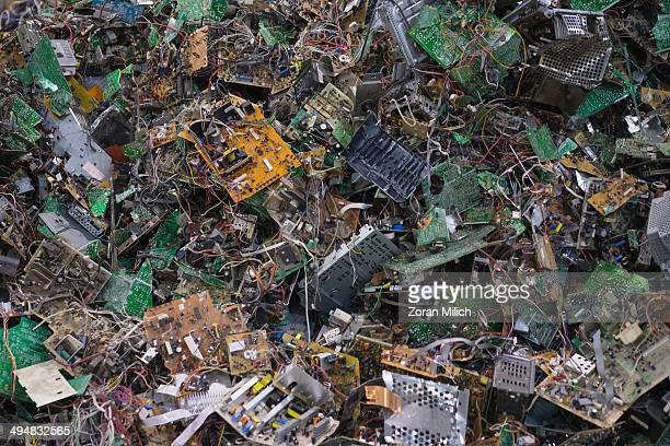 Computer boards awaiting to be dismantled as recyclable waste at the Electronic Recyclers International plant in Holliston Massachusetts USA