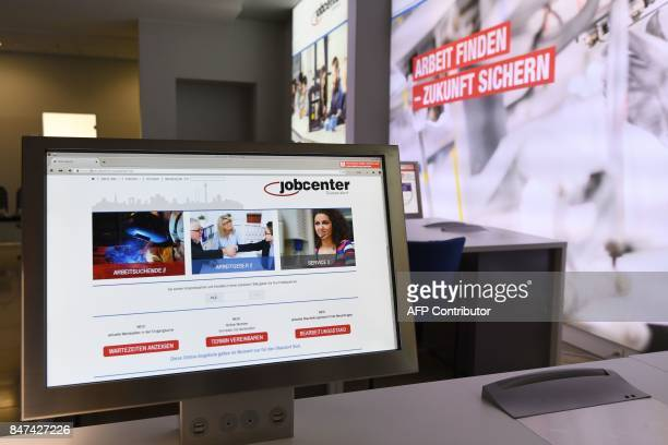 A computer can be seen inside of a Jobcenter in DuesseldorfMitte western Germany on August 25 2017 The number of people out of work has halved in...