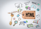 HTML Computer Coding, Website Concept. Key and note on white background