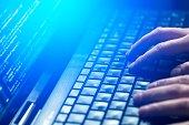 coding code program coder programming work write man system web network html human hand key secrecy criminal concept - stock image