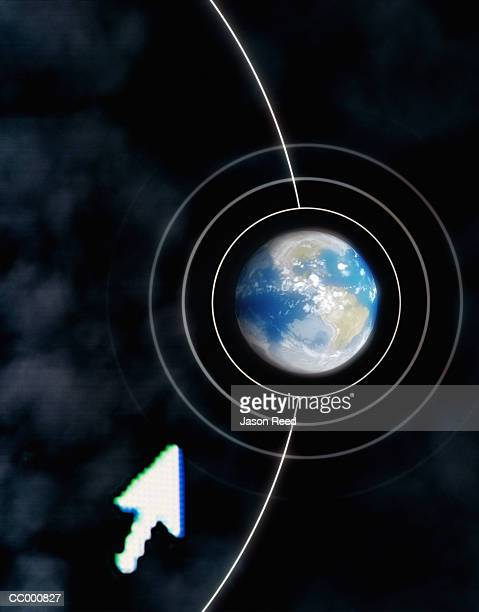 Computer Cursor Pointing at Globe on Desktop