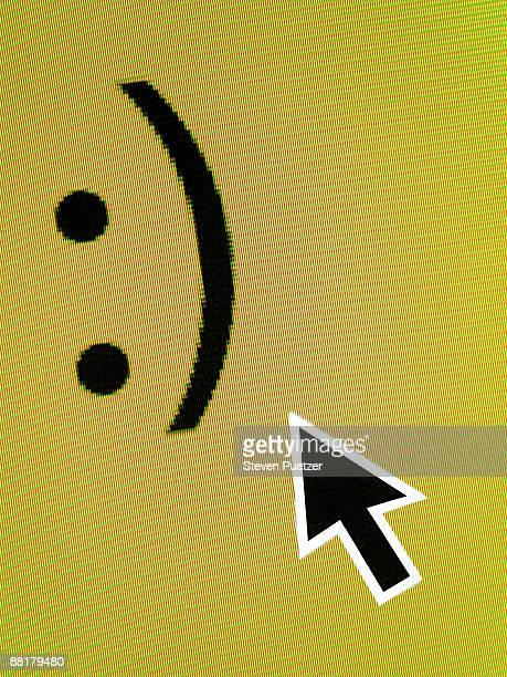 Computer cursor pointing to smiling face