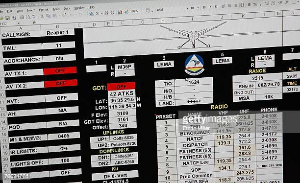 A computer display in a ground control station shows data as the crew of an MQ9 Reaper gets ready for a training mission August 8 2007 at Creech Air...