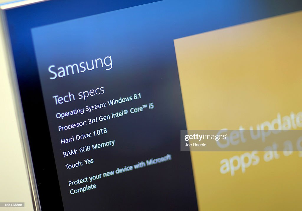 A computer displays its tech specs with the new Windows 8.1 operating system at a Microsoft store in the Dadeland Mall October 17, 2013 in Miami, Florida. The update was released a year after Windows 8 was released and includes fixes to some of the problems people experienced with the initial release.