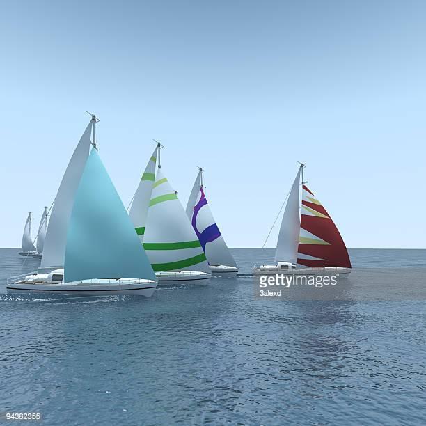 Computer generated sailboat regatta on calm sea