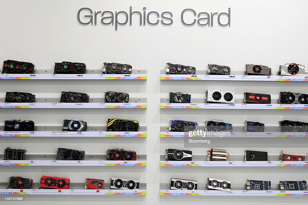 Computer graphics cards are displayed at Computex Taipei 2012 in Taipei, Taiwan, on Tuesday, June 5, 2012. Computex Taipei 2012 takes place from June 5 to June 9. Photographer: Ashley Pon/Bloomberg via Getty Images