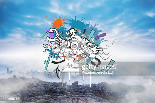Composite image of computer icons and arrows on paint splashes : Stock-Foto