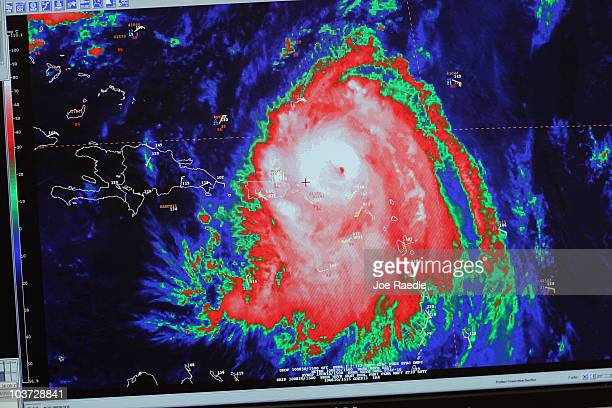 A computer images shows hurricane Earl as it passes through the Caribbean at the National Hurricane Center on August 30 2010 in Miami Florida The...