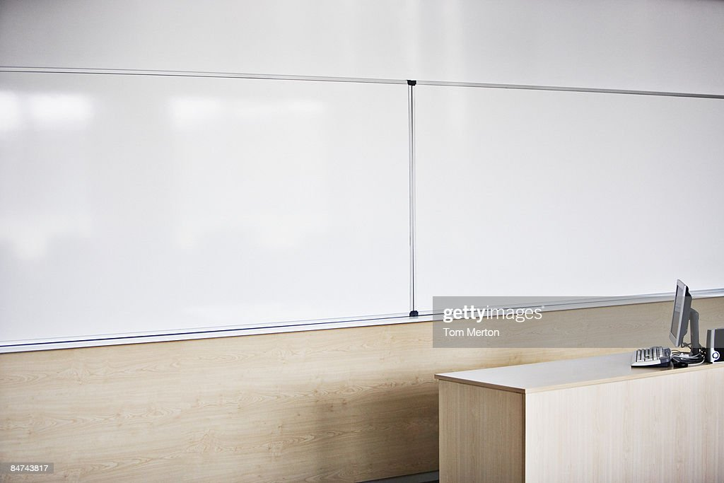 Computer in modern conference room