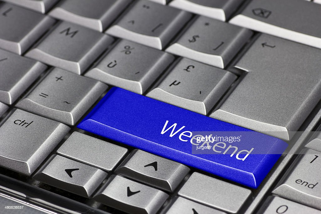Computer key blue - weekend : Stock Photo