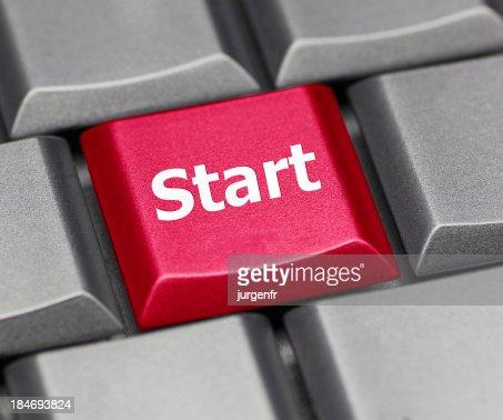 computer key red - Start : Stock Photo